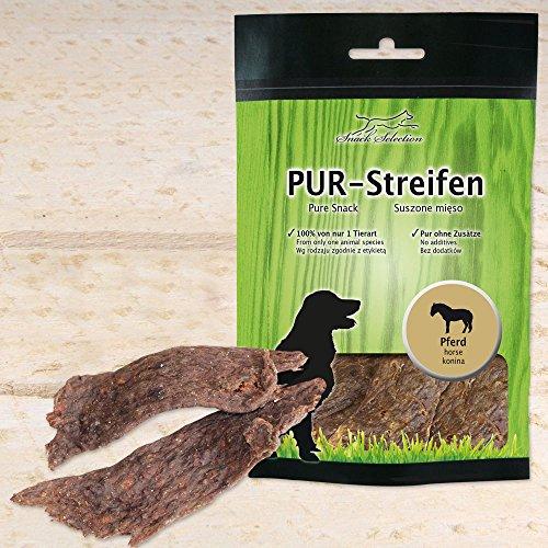 Schecker Pur - Tiras para masticar para caballo, secas, 1 x 100 g, sin aditivos, limpia y suave, aperitivo para perros