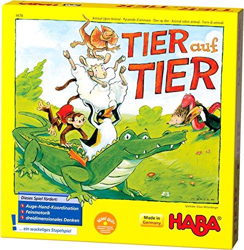 Haba 4478 - dier op dieren, stapelspel voor 2-4 spelers vanaf 4 jaar, met dierenfiguren van hout, ook speelbaar als solospel
