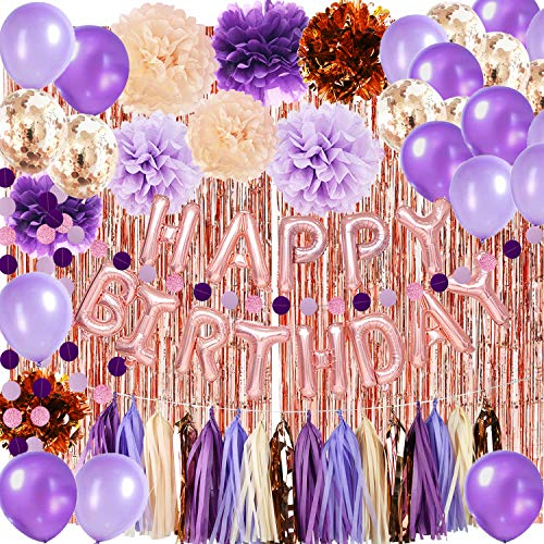 Purple Birthday Decorations for Women Purple Champagne Rose Gold Happy Birthday Ballons Rose Gold Confetti Balloons Rose Gold Foil Fringe Curtains for Women's 16th/30th/40th Birthday Party Decorations