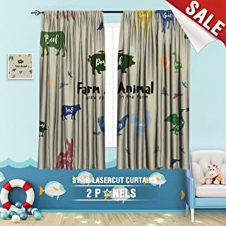 Big datastore home Kids Curtain, Advertising Animal Badge Banner Beef Bird Black Brand Bull Business Butcher 84 x 72 inch Room Darkening Blackout Drapes
