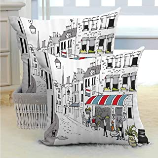 SEMZUXCVO Paris Decor Couple Pillowcase Drawing of a Street in Paris A Cafe and The Street Lamp Illustration Print Machine Washable W14 x L14 inch White and Grey