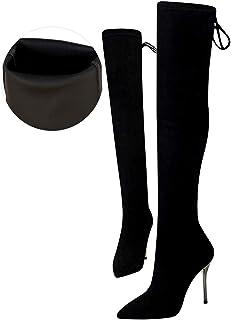 Vrouwen Laarzen Herfst Winter Stretch Dij Hoge Laarzen Over de Knie Laarzen Hoge Hakken Puntschoen Schoen