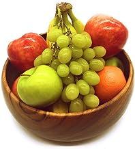 SDS HOME IMPORTS وعاء فاكهة من خشب أكاسيا مصنوع يدويًا من الخشب الطبيعي على شكل دائري صديق للبيئة 3 أنماط (12X4)