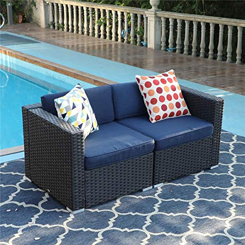 PHI VILLA Outdoor Sectional Sofa- Patio Wicker Furniture Set (2-Piece)