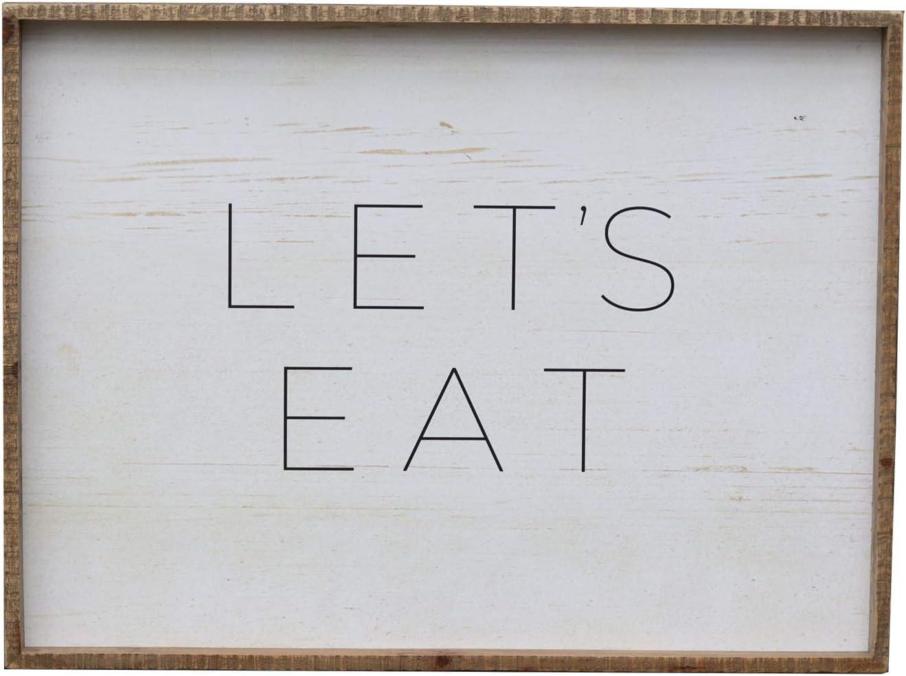 世界の人気ブランド Parisloft Let's Eat Wood Wall 爆安プライス Framed Sign Fa Decor Antique