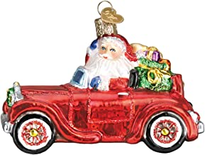 Old World Christmas Glass Blown Ornament with S-Hook and Gift Box, Santa Collection Santa in Antique Car