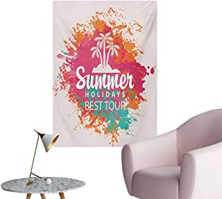 Anzhutwelve Quote Painting Post Summer Holidays Best Tour Lettering with Palm Tree Island Rainbow Colored Image PrintMulticolor W20 xL28 Custom Poster