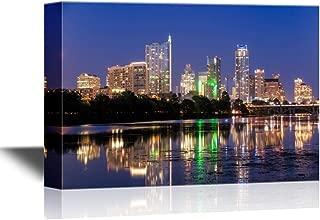 wall26 - USA City Skyline Canvas Wall Art - Beautiful Austin Skyline Reflection at Twilight, Texas - Gallery Wrap Modern Home Decor | Ready to Hang - 32x48 inches