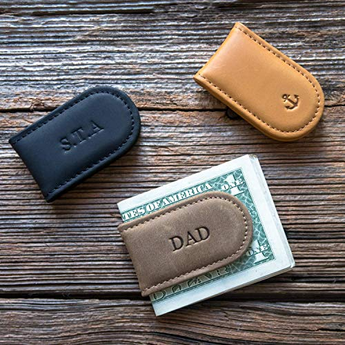 Personalized Leather Money Clip For Men, Custom Groomsmen gift, Strong magnetic money clip, Minimalist cash holder - Fathers Day Gift.