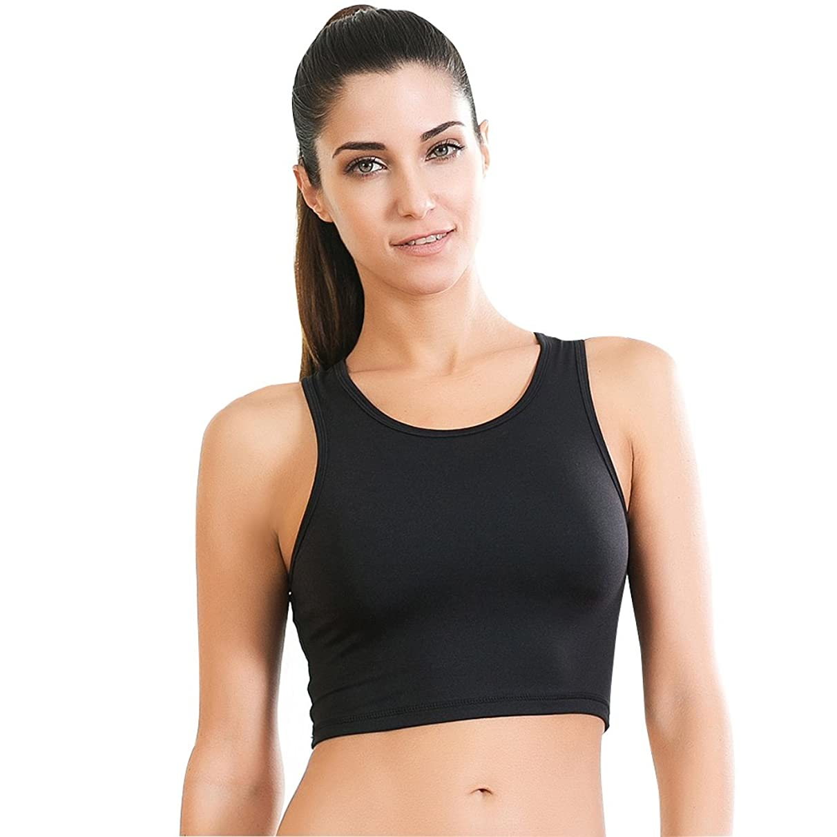 Move With You Womens Crop Tank Tops Workout Running High Neck Sports Bra with Built-in Bra