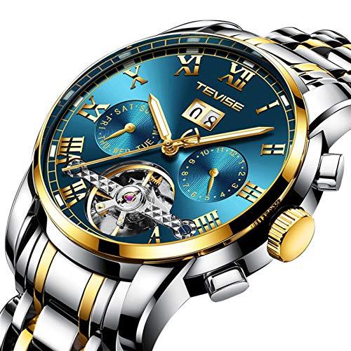 JTTM Moda Business Hombres Automático Mecánico Tourbillon Relojes De Pulsera Acero Inoxidable Correa Luminoso Puntero Calendario Multifunción,Gold Blue