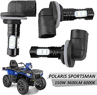Led Headlight Bulbs Lamps 150W High Power 6000K Super White 3600LM For Polaris Sportsman RZR 570 Ranger ACE Magnum Hawkeye (3Pcs)