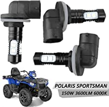 Led Headlight Bulbs Lamps 150W High Power 6000K Super White 3600LM For Polaris Sportsman RZR 570 Ranger ACE Magnum Hawkeye (3Pcs)