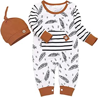 Ariestorm Infant 2PCS Outfits Baby Boys Girls Cartoon Striped Print Romper Jumpsuit Hat