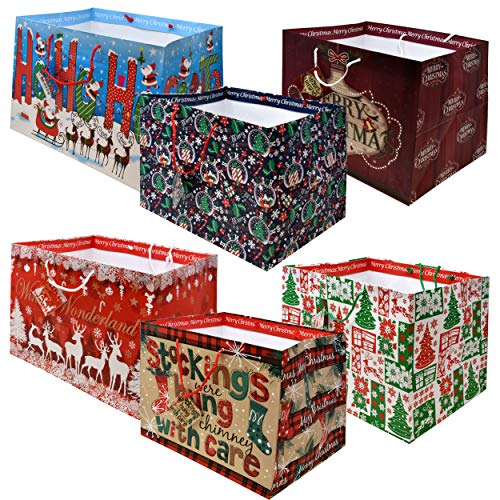 12 Jumbo Christmas Tote Bags with Handles 15' Wide X 11' High X 11' Deep Extra Wide Large Giant Reusable Holiday Grocery Shopping Paper Gift Bags Big Gusset for Food Cookie Container and Foil Tin Pan