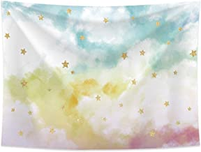 Allenjoy 8x6ft Golden Glitter Stars Photography Backdrops Watercolor Colorful White Cloud Twinke Twinkle Sky Birthday Party Banner Newborn Bride Baby Shower Professional Portrait Photocall Studio