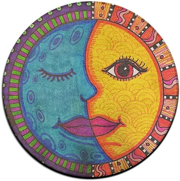 Wangsajko Round Home Welcome Doormat Moon And Sun Non Slip Floor Mat 23 6 X 23 6 Inch