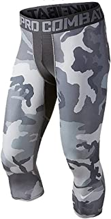 Nike Pro Combat Hypercool Compression Woodland 3/4 Training Tights (X-Large, Anthracite Grey/Cool Grey Woodland Camo)