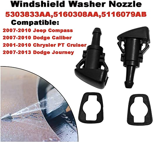 FairOnly 2pcs Windshield Spray Nozzle Washer 5113049AA fit for CHRY-SLER Je-ep DOD-GE RAM Accessories