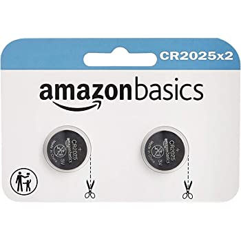 AmazonBasics CR2025 Lithium Coin Cell, 2-Pack