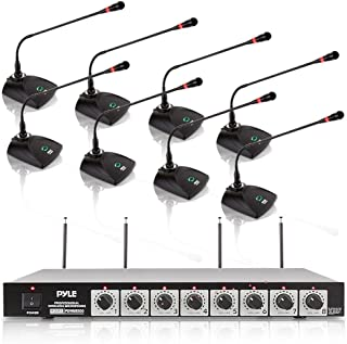 8 Channel Wireless Microphone System - Portable VHF Cordless Audio Mic Set with 1/4