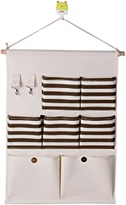 SFGHOUSE Striped Cotton Linen Fabric Pockets Wall Door Closet Hanging Organizer with Key Hooks Storage Bag  Coffee Stripe