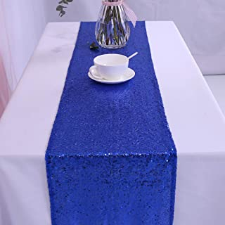 TRLYC 6 Pieces 12 by 108-Inch Wedding Royal Blue Sequin Table Runner, Royal Blue