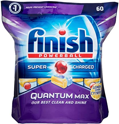 300 Pack (5 x 60 Pack) Finish Quantum Max Powerball Dishwashing Tablets - Lemon Sparkle - Wholesale Bulk lot Deals - Save more