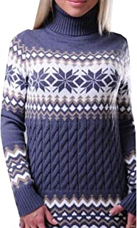 Macondoo Women's Fashion Pullover Turtle Neck Jumper Knit Snowflakes Sweater