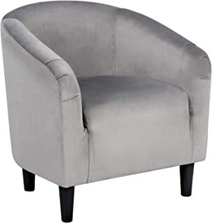 YAHEETECH Arm Chair Home Modern Club Chair Accent Chair Upholstered Barrel Chair Grey