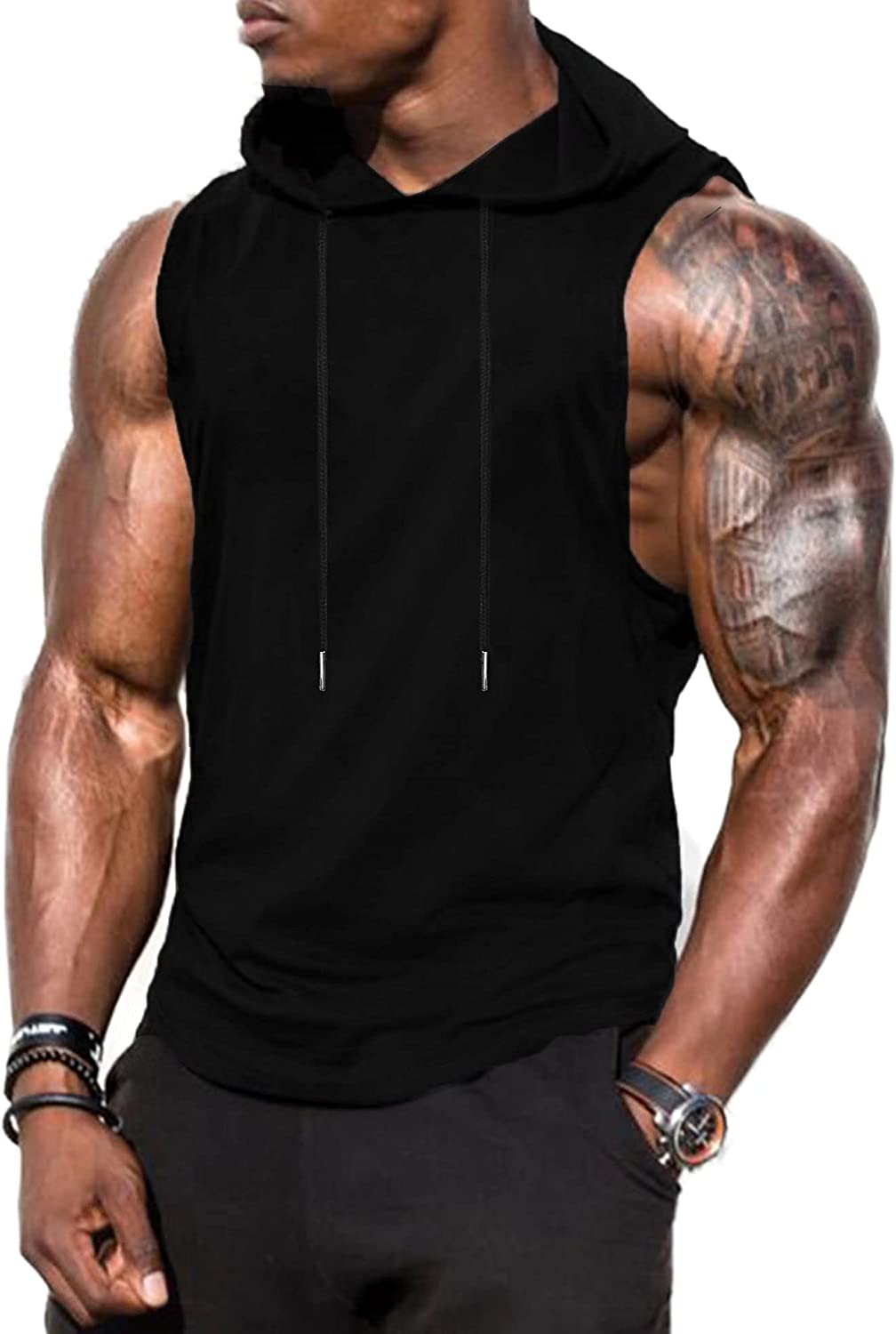 Babioboa Men's Workout Hooded Tank Tops Sports Training Sleeveless Gym Hoodies Bodybuilding Cut Off Muscle Shirts
