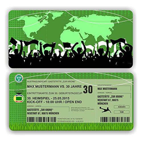 Einladungskarte Geburtstag Fussball Ticket Eintrittskarte mit Perforation (10 Stück)