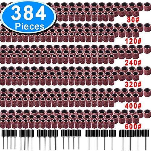 SIQUK 384 Stück Schleifhülse Satz Einschließlich 360 Stück teilig Schleifen Bands and 24 Stück Schleifwalze for Dremel Drehwerkzeug