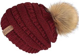 FURTALK Kids Girls Boys Winter Knit Beanie Hats Faux Fur Pom Pom Hat Bobble Ski Cap Toddler Baby Hats 1-7 Years Old