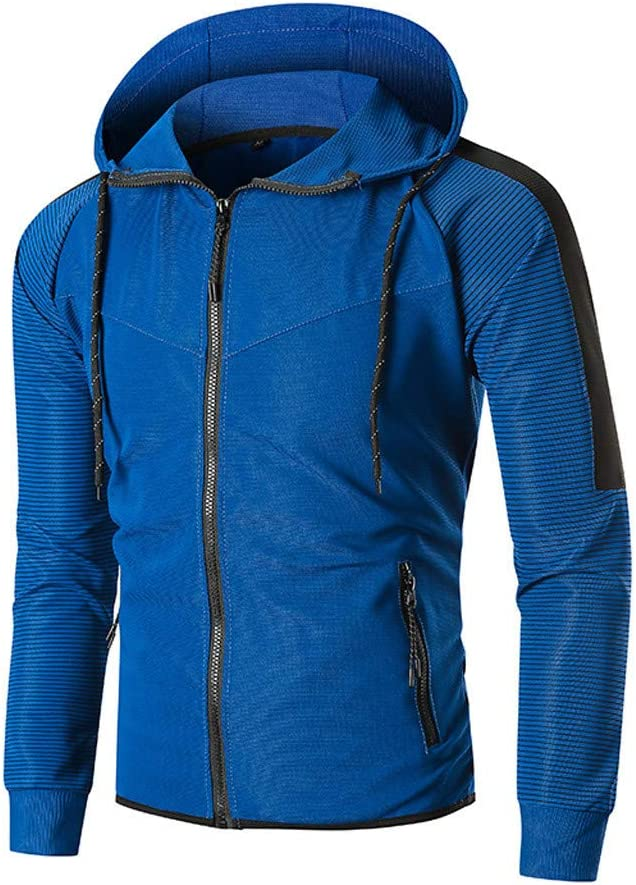 Bravetoshop Mens Pullover Hoodie Zip Up Long Sleeve Patchwork Hooded Sweatshirts Outwear Top Front Pocket