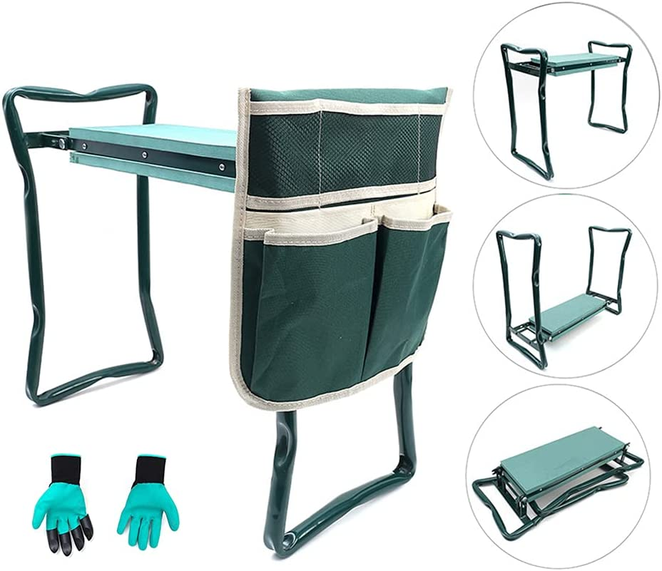 ChengHao Garden Kneeler Seat Garden Stools Foldable Stool with Tool Bag Pouch EVA Foam Pad Capacity-Protects Your Knees for Gardening(Large-23.6