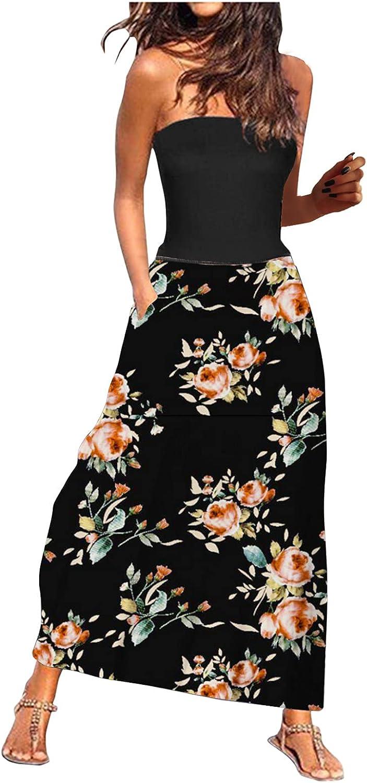 Women's Dresses Sleeveless Tube Top Sexy Strapless Summer Dresses Long Skirt Pocket Printed Casual Dress