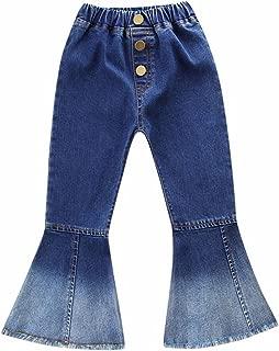 Mubineo Toddler Kids Little Girl 3D Flower Fashion Bell Bottom Denim Jeans Long Pants