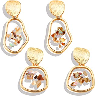 Minshine Acrylic Shell Drop Earrings for Women Girls Gold Fashion Hypoallergenic Transparent Resin Geometric Statement Dangle Earring Set 2 Pairs