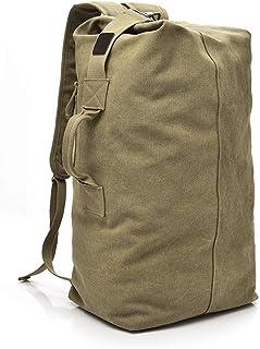 Large Capacity Rucksack Man Travel Bag Mountaineering Backpack Male Luggage Boys Canvas Bucket Shoulder Bags Men Backpacks (Khaki)