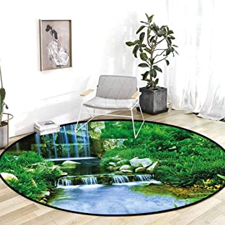 Classroom Rug Nature Waterfall Flowing Down The Rocks Foliage Cascade in Forest Valley Image Fern Green Light Blue Living Room Carpet 5'Round