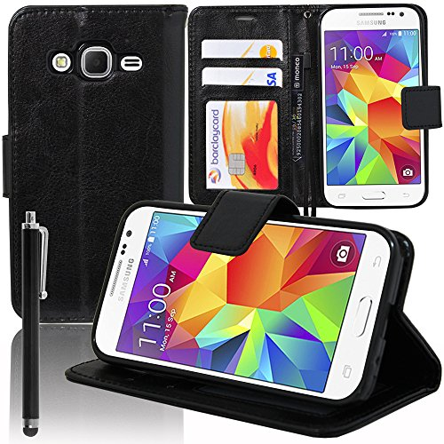 VCOMP Cover Custodia Portafoglio Supporto Video a Libro Falda Pelle PU per Serie Samsung Galaxy - Nero+Pennino, Samsung Galaxy Core Prime SM-G360F G361F
