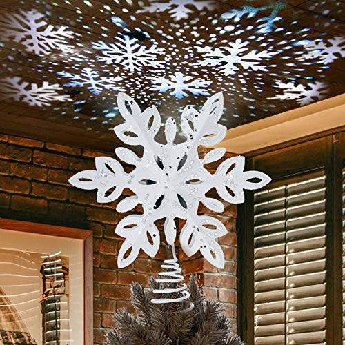 YEAHOME Snowflake Christmas Tree Topper, Lighted Christmas Tree Topper Snowwhite Christmas Treetop with Snowflake Projector Lights for Christmas Tree Decorations