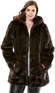 a6fb0d940b2 Roamans Women s Plus Size Short Faux Fur Coat