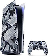 Película de fibra de carbono MightySkins compatível com PS5/Playstation 5 Bundle – Camuflagem cinza | Proteção durável, ac...