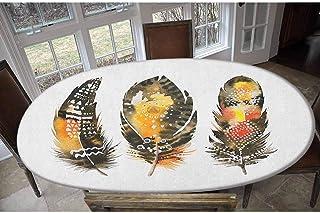 Housse de table élastique en polyester avec plumes dessinées à la main - Style bohème - Arrangement coloré - Effet aquarel...