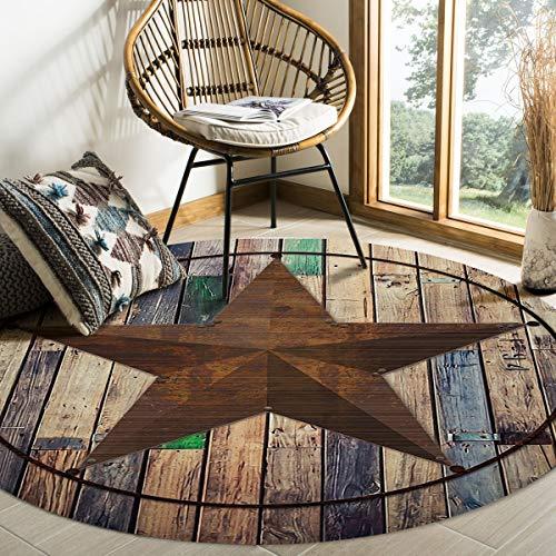 ALAGO Round Area Rugs Western Texas Star Soft Carpets Indoors/Living Dining/Bedroom/Study Children Playroom Crawl Rug Floor Mats Woman Yoga Mat 4 ft Diameter