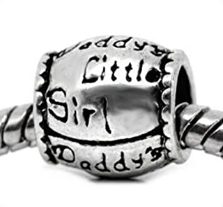 "EvesErose (TM) ""Daddy's Little Girl"" Antique Silver Bead Charm Fits Pandora & Similar Authentic Bracelets"