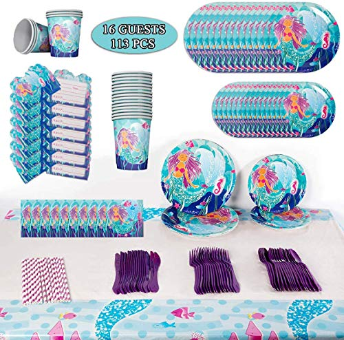Mermaid Birthday Party Supplies Decorations Kit Favors - Serves 16 - Tablecloth, Plates, Napkins, Cups, Spoons, Knives, Straws, Cards, Gift for Girl's Kids Birthday and Baby Shower Decor - 113 Pcs