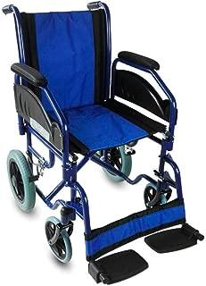 Mobiclinic, Silla de ruedas, Plegable, Reposabrazos y reposapiés extraíbles, Ortopédica, Azul, Asiento 45 centímetros, Maestranza